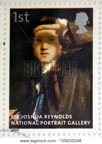 stamp printed in Great Britain dedicated to the national portrait gallery shows Sir Joshua Reynolds