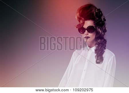 Fashion lady with sunglass in color
