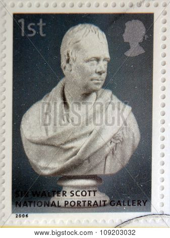 stamp printed in Great Britain dedicated to the national portrait gallery shows Walter Scott by Sir