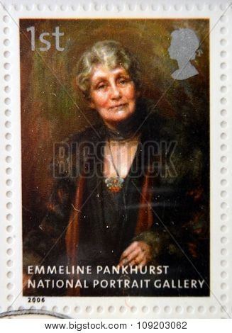 stamp printed in Great Britain dedicated to the national portrait gallery shows Emmeline Pankhurst