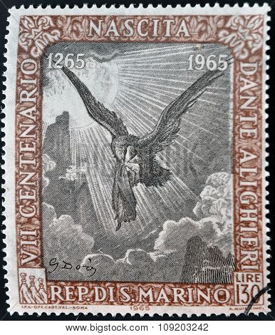 SAN MARINO - CIRCA 1965: A stamp printed in San Marino dedicated to Anniversary of Birth of Dante