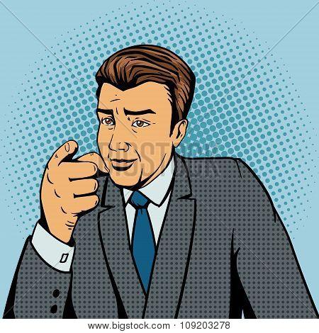 Man pointing forward finger pop art style vector
