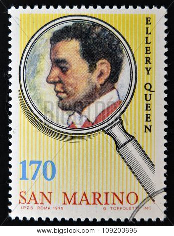 SAN MARINO - CIRCA 1979: A stamp printed in San Marino shows Ellery Queen circa 1979