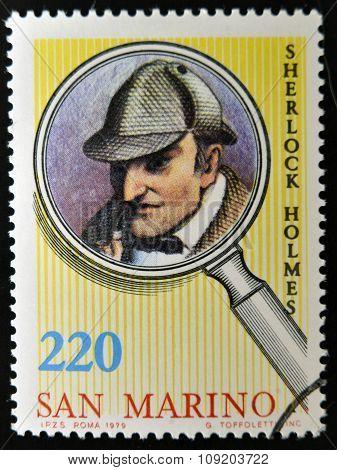SAN MARINO - CIRCA 1979: A stamp printed in San Marino shows Sherlock Holmes circa 1979