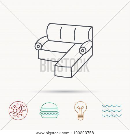 Corner sofa icon. Comfortable couch sign.