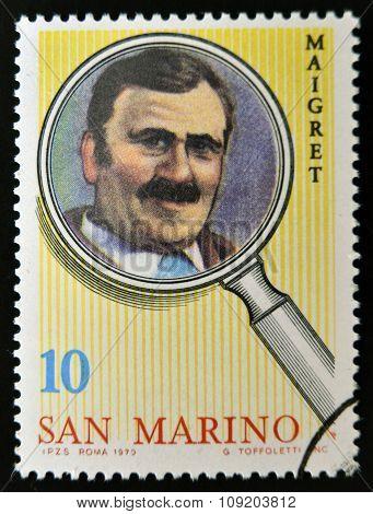 SAN MARINO - CIRCA 1979: A stamp printed in San Marino shows Maigret circa 1979