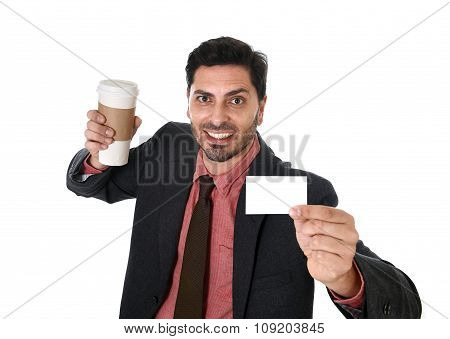 Happy Businessman Holding Take Away Coffee Cup And White Card In Blank As Copy Space