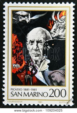 SAN MARINO - CIRCA 1981: A stamp printed in San Marino shows Birth Centenary of Pablo Picasso