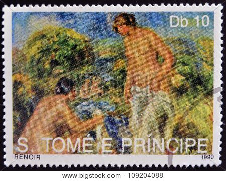 SAO TOME AND PRINCIPE - CIRCA 1990: A stamp printed in Sao tome shows The Bathers by Renoir
