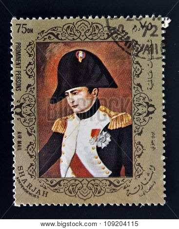 EMIRATE OF SHARJAH - CIRCA 1972: stamps printed in Emirate of Sharjah shows Napoleon Bonaparte