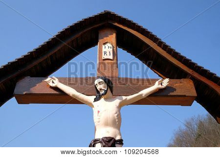 ZAGORJE, CROATIA - MARCH 21: Roadside Crucifix in Zagorje region, Croatia on March 21, 2015.