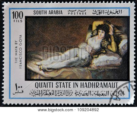 A stamp printed in South Arabia shows The Clothed Maja by Francisco de Goya