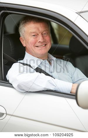 Portrait Of Senior Driver In Car