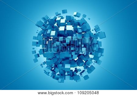 Abstract 3D Rendering of Blue Cubes.
