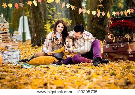 Happy Family In The Park, Autumn Time