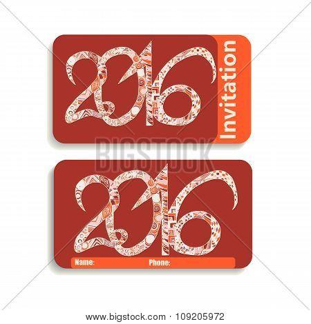 horizontal invitation card for holiday 2016