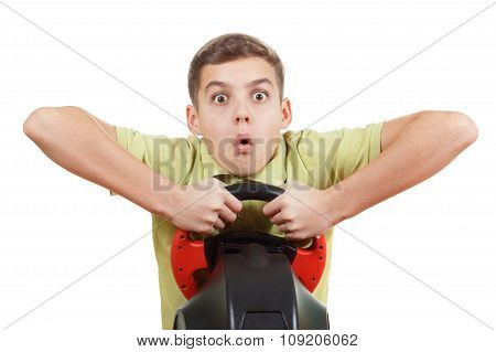 Boy Playing With A Wheel Game, Isolated On White