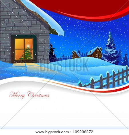 Christmas Celebration at Home : Merry Christmas Illustration