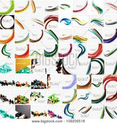 Mega collection of wave abstract backgrounds with copy space. For business tech design templates, web design, presentations. Vector illustration