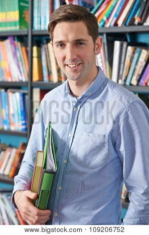 Portrait Of University Student In Library