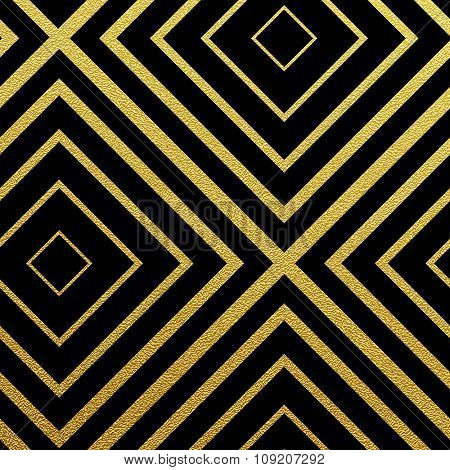 Geometric gold glittering seamless pattern on black background.
