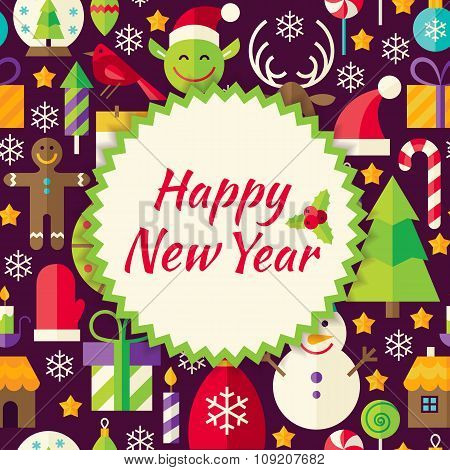 Flat Vector Pattern Happy New Year Background