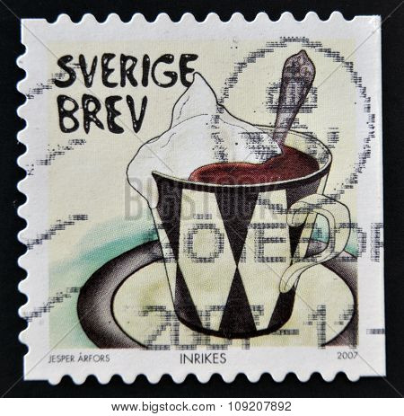 SWEDEN - CIRCA 2007: stamp printed in Sweden shows Cup of cocoa circa 2007