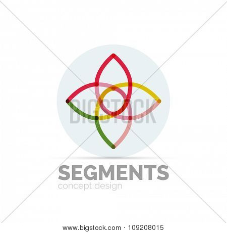 Abstract geometric linear hipster floral icon, frame design, flat style. Vector logo design element.