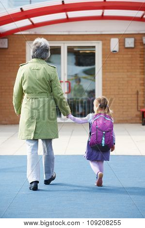 Grandparent Taking Grandchild To School