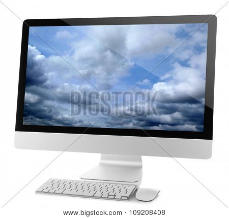 Modern computer isolated on white