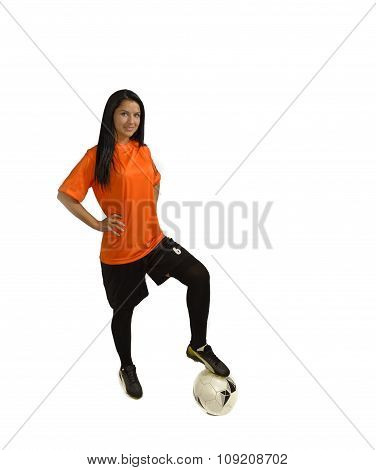 Brunette Soccer Woman Isolated On White Background
