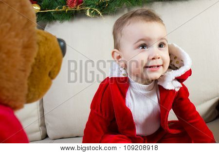Baby Dressed In A Christmas Costume