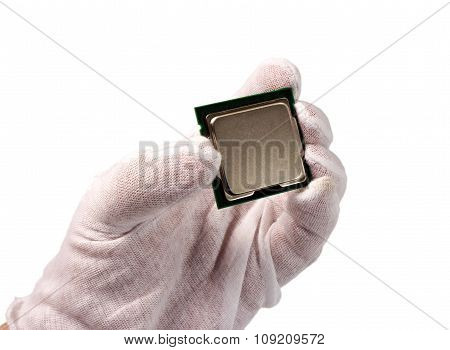 Electronic Collection - Cpu In Hand Isolated On White Background