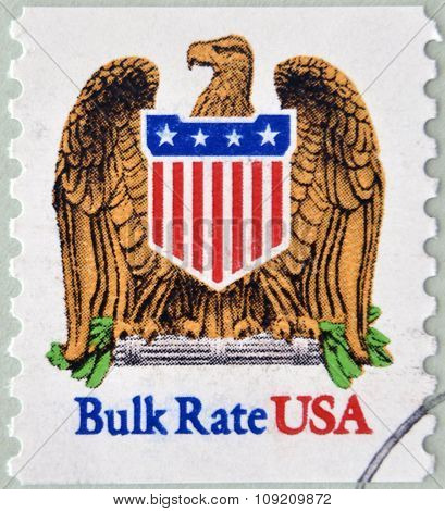 UNITED STATES OF AMERICA - CIRCA 1991: A stamp printed in USA shows eagle and shield bulk rate