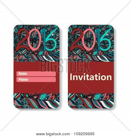 vertical invitation card for holiday 2016