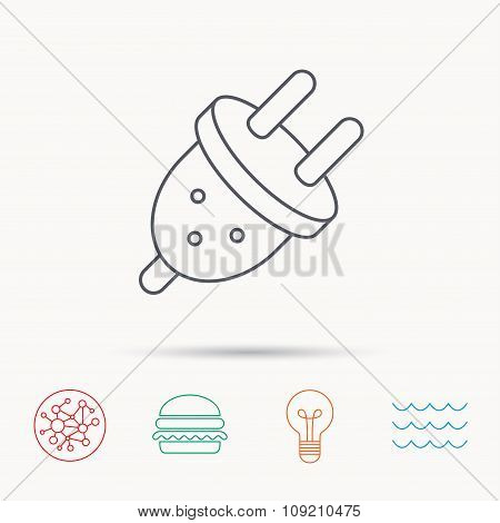 Electric plug icon. European socket sign.