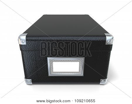Black leather closed box with chrome corners and blank label. Front view