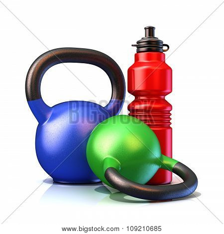 Red plastic sport bottles and kettle bells weight