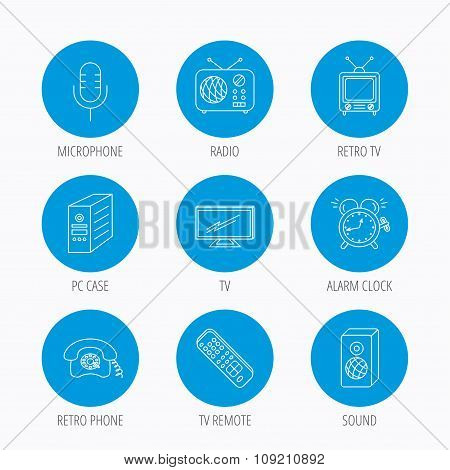 TV remote, retro phone and radio icons.