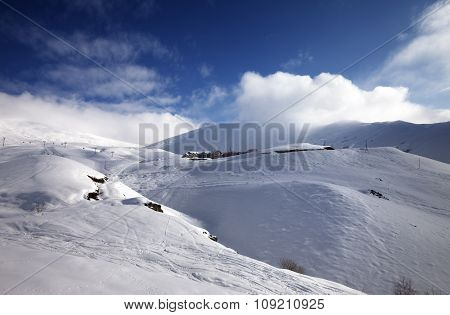 Off-piste Slope At Sun Morning
