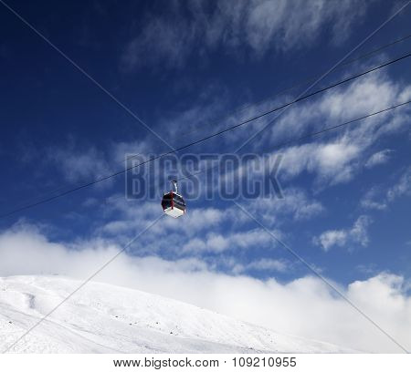 Gondola Lift And Blue Sky With Clouds In Nice Day