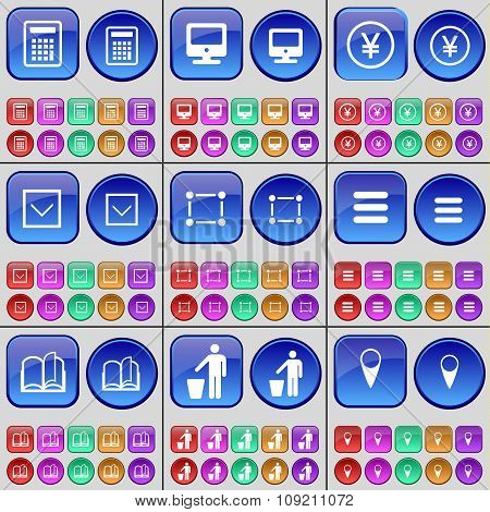 Calculator, Monitor, Yen, Arrow Down, Frame, Apps, Book, Silhouette, Checkpoint. A Large Set Of
