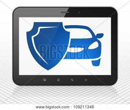 Insurance concept: Tablet Pc Computer with Car And Shield on display