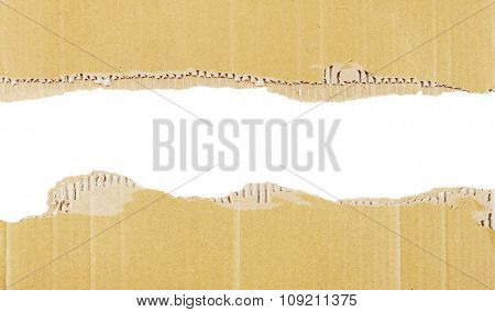 Background or border of cardboard isolated on white.
