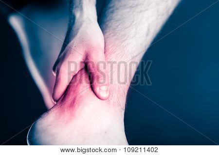 Painful leg and ankle foot in pain physical injury. Male leg and muscle pain illness or accident