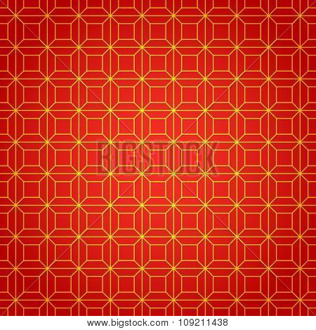 Gold and red geometric national chinese seamless pattern. Wrapping paper. Scrapbook paper. Chinese n