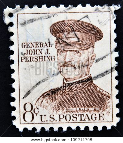 UNITED STATES OF AMERICA - CIRCA 1960: A stamp printed in USA shows general John J. Pershing