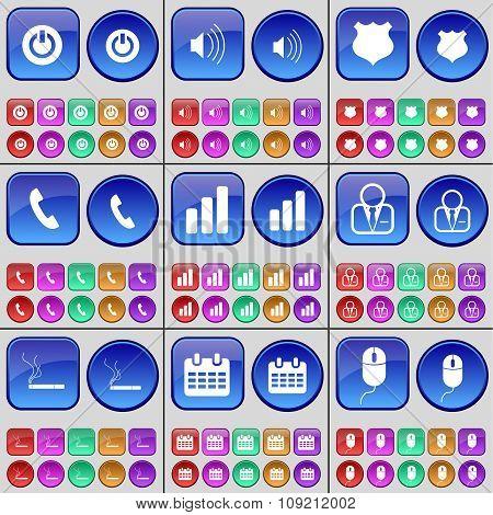 Power, Sound, Police Badge, Receiver, Diagram, Avatar, Cigarette, Calendar, Mouse. A Large Set Of
