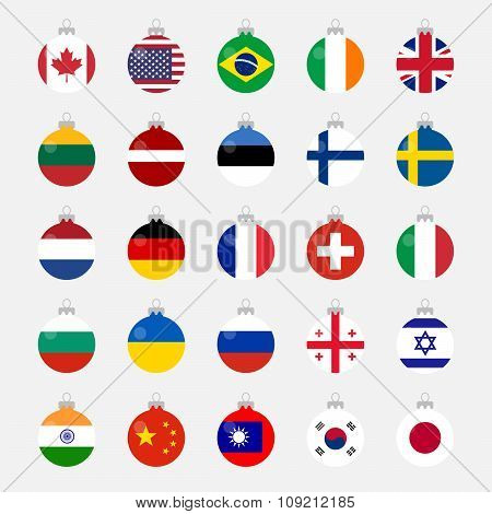 Christmas Ball Shaped Country Flags Set