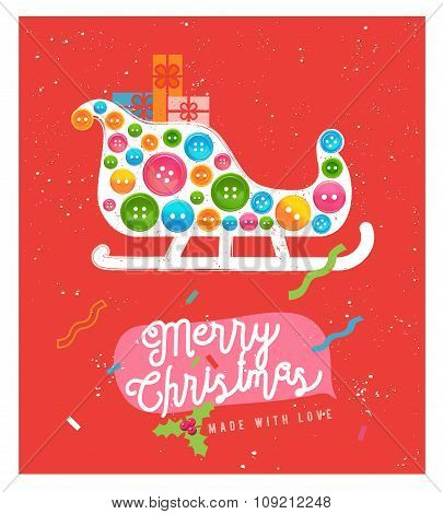 Cute Christmas Greeting Card. Merry Christmas card design. Holiday vector postcard illustration.